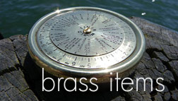 Nauitcal brass gifts and brass instruments including brass compasses and bosun's whistles