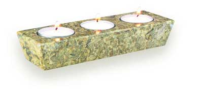 Fossilstone Three Hole Candle Holder