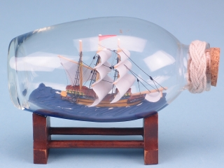Ship in Oval Bottle on Stand